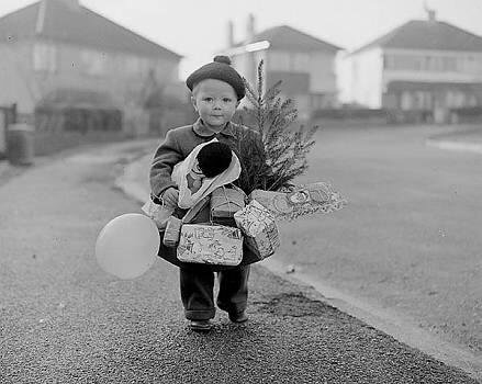 little-boy-christmas-present-old-photo