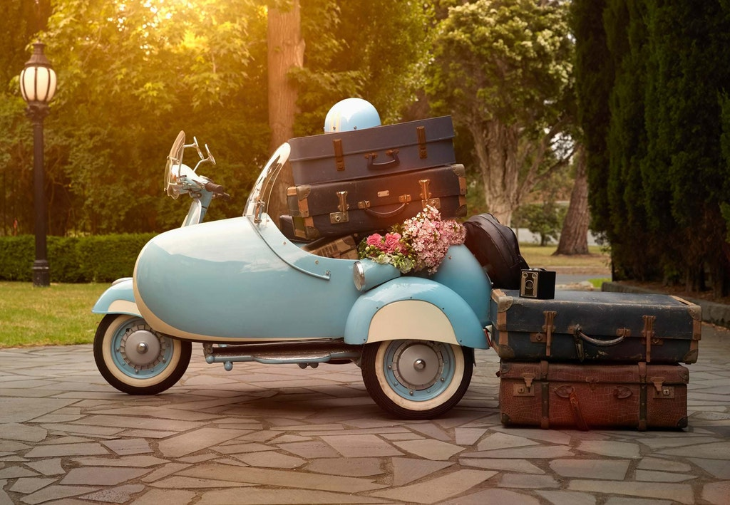 Vintage Suitcases in a Vintage Scooter by Gable Denims - spicedpumpkins - http://bit.ly/2mIGFYQ