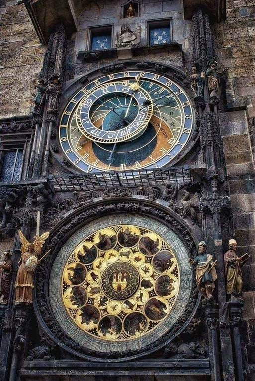 Installed in the year 1410, the giant outdoor clock in downtown Prague has been ticking for over 6 centuries, and is the world's oldest astronomical clock still in operation. - c0ca1n3_187 - http://bit.ly/2DyQIV2