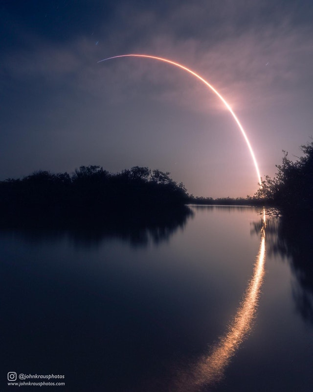 Long exposure photograph I shot of SpaceX's recent launch of Falcon 9 and SES-12 - johnkphotos - bit.ly2JTvovT