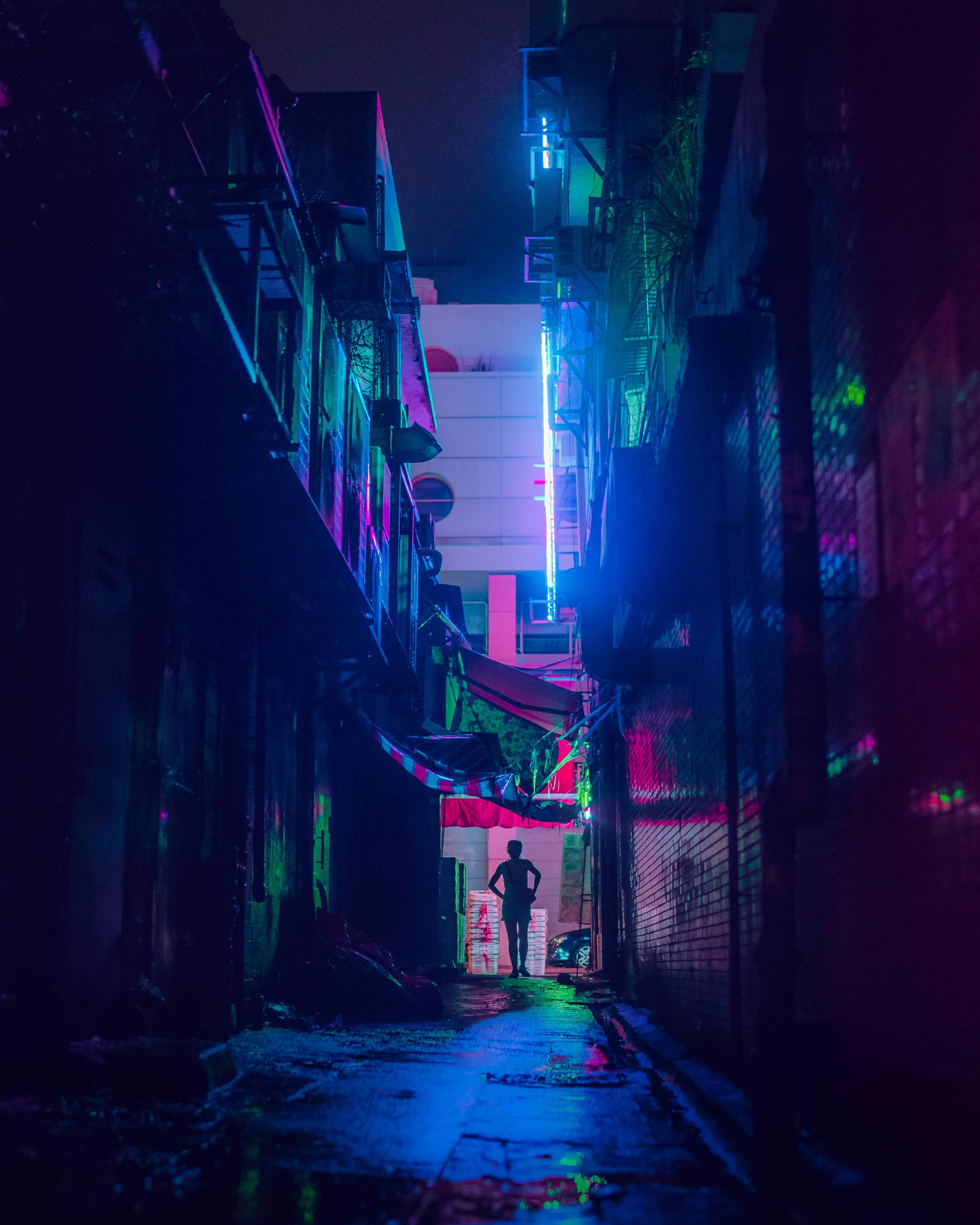This alley lit by a colorful neon sign - stfeyes - bit.ly2P81c2g