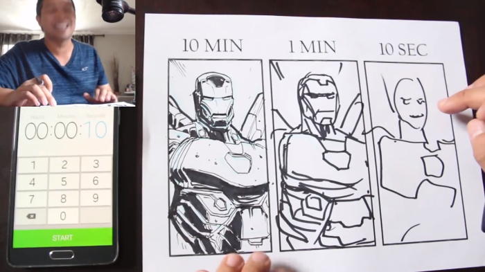 Video: Artists draw Iron man in different time