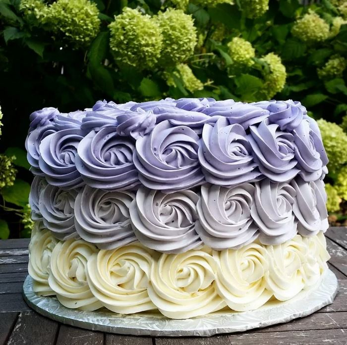 Honey peach lavender butter cream cake