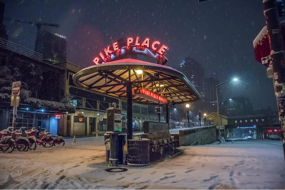 Snow and neon go together so well in Seattle