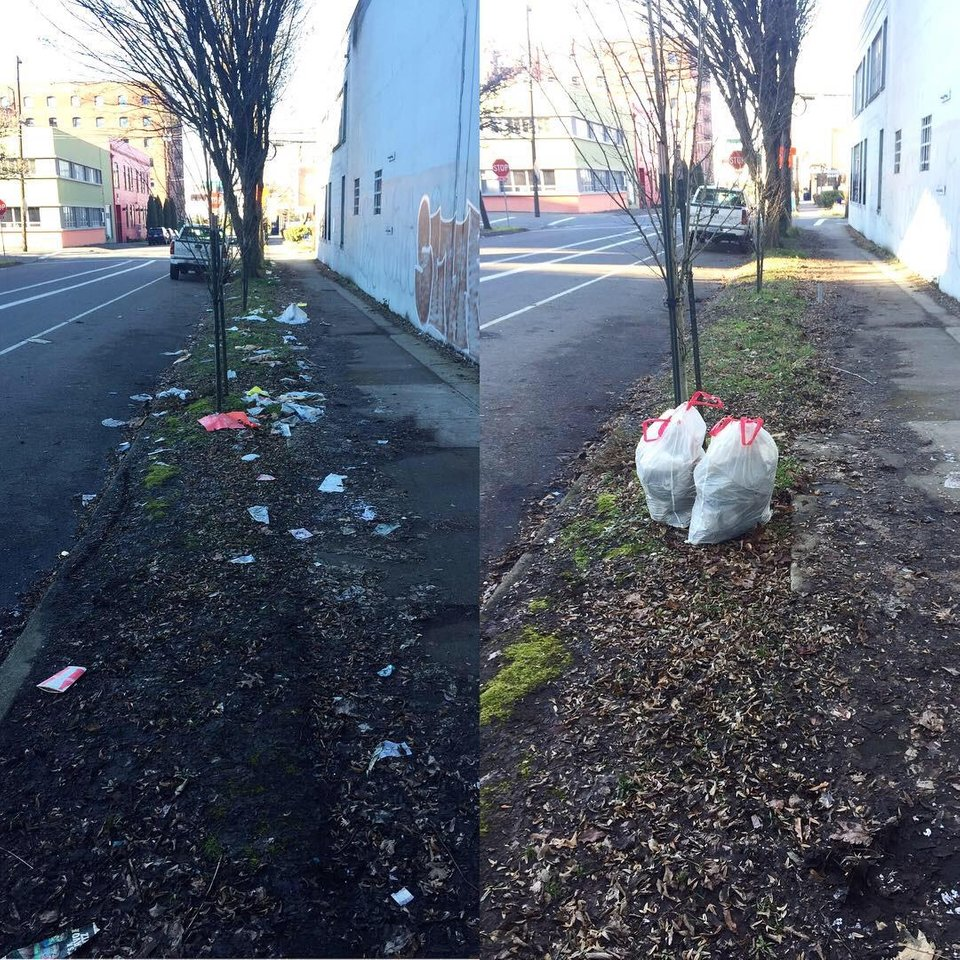 Our contribution in Portland, Oregon. This trash would have eventually ended up in the Willamette River