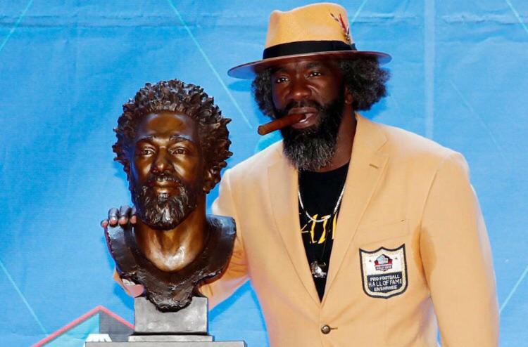 Ed Reed and his Hall of Fame Bust