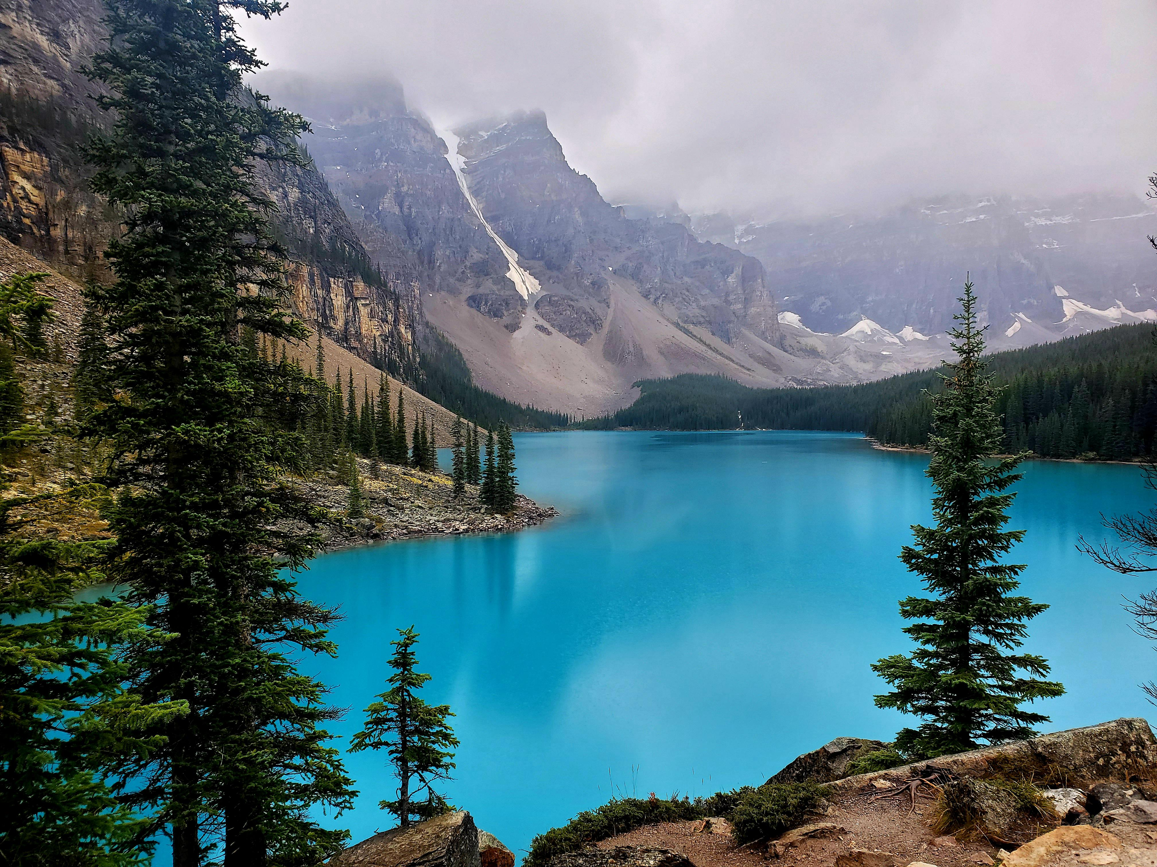 Moraine lake at Banff National Park in Alberta, Canada on a cloudy day