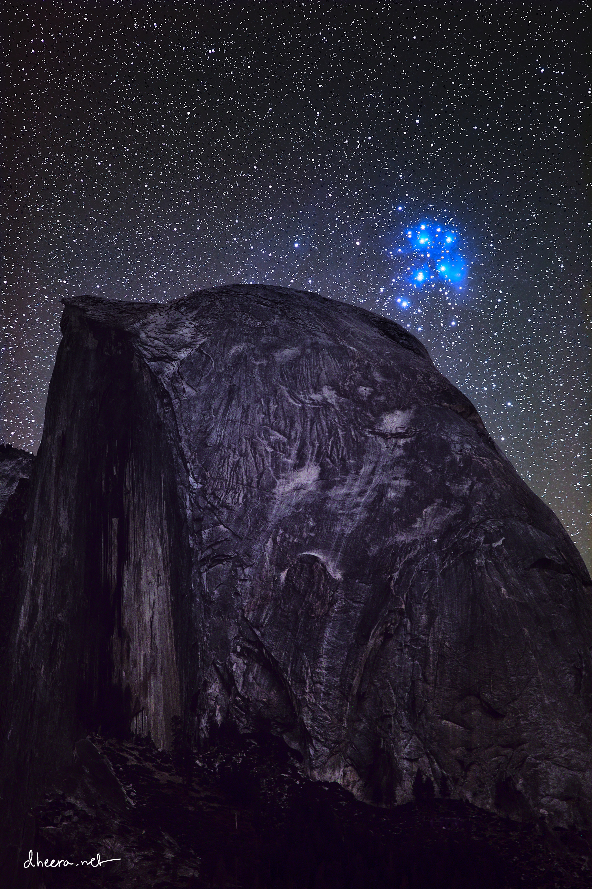 Pleiades star cluster rising over Half Dome, Yosemite National Park