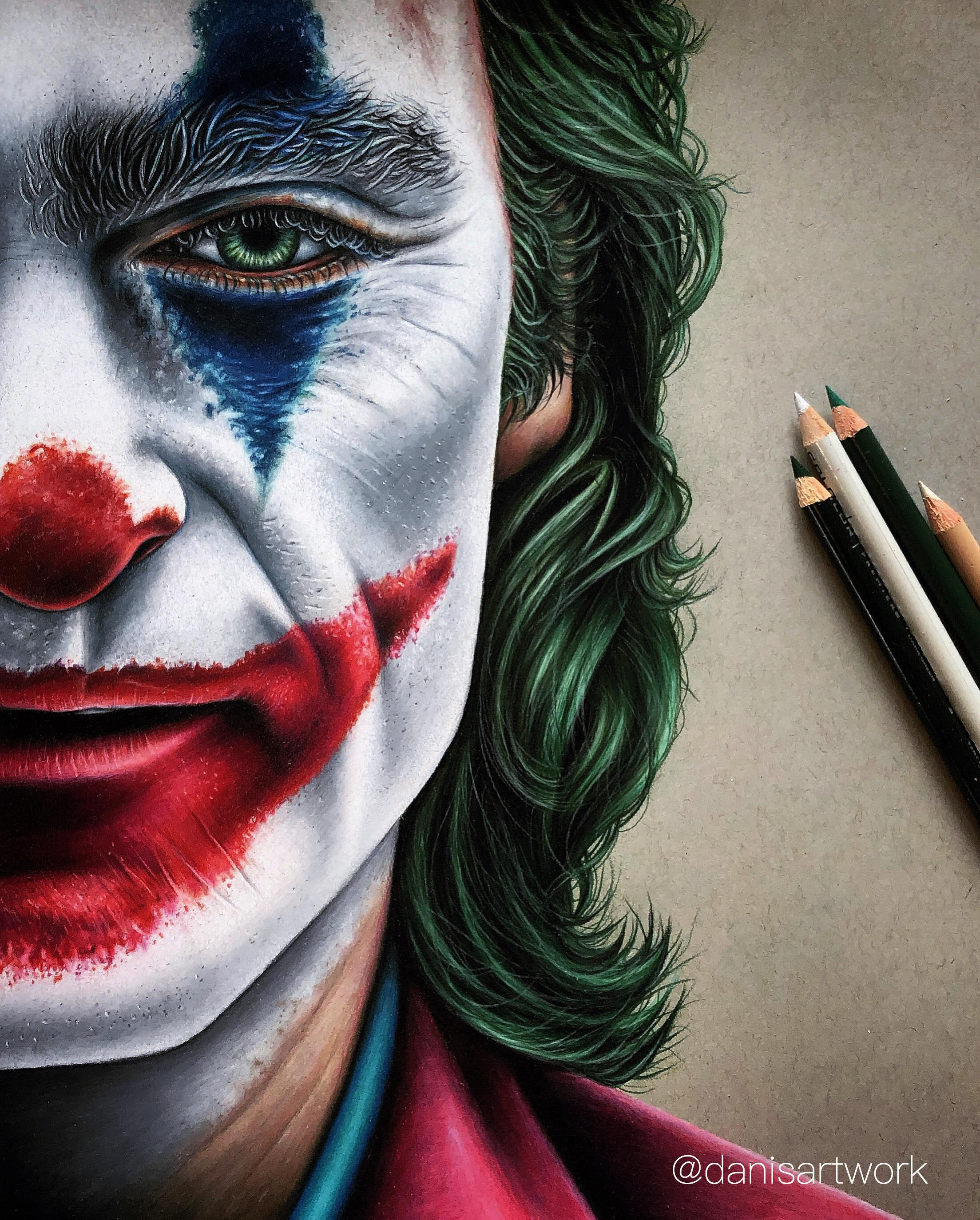Really proud of my finished coloured pencil drawing of the Joker