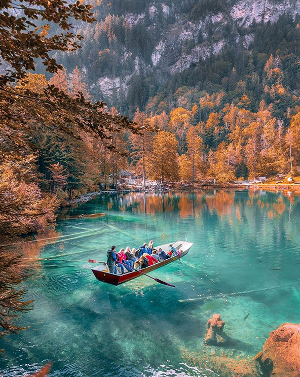 The spectacularly clear Blausee Lake in Switzlerland