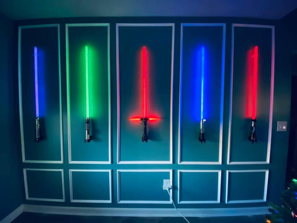 Lightsaber wall built by my wife